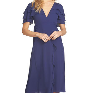 1.STATE Ruffled Faux Wrap Dress Evening Sky Dress